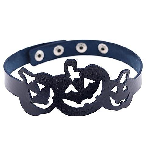 Beydodo Halloween-Party Schmuck Leder Choker-Halskette Damen Kürbis Dunkelblau Halsband (Region 10 Kostüm)