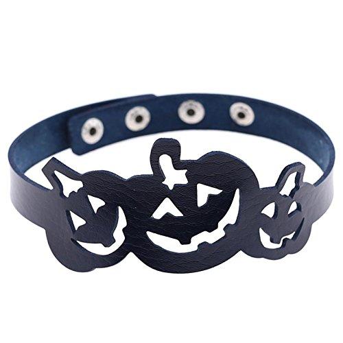 Kostüm Region 10 (Beydodo Halloween-Party Schmuck Leder Choker-Halskette Damen Kürbis Dunkelblau)