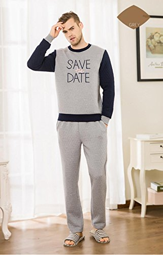 Neueste Männer Langarm Baumwolle Pyjama Morgenmantel Winter Nachtwäsche, die draußen getragen werden kann , xxl