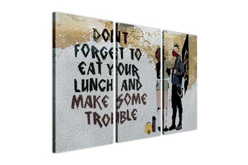 """Contemporary Citazione su tela Banksy anarchica e madreperla Make Some Trouble ambiente Street Art Graffiti foto tele 3pezzi, puntine Tela Legno, 2- 3 X 20"""" X 10"""" (3 X 50CM X 25CM)"""