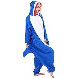 Mallalah Pijamas de Tiburón Unisex para Adultos Traje de Pijama de Animal Pijama de Felpa con Capucha Cosplay (XL)