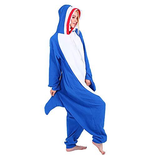 Mallalah Erwachsene Unisex Shark Pyjamas Tier Pyjama Kostüm Plüsch Jumpsuit Schlafanzug mit Kapuze ()