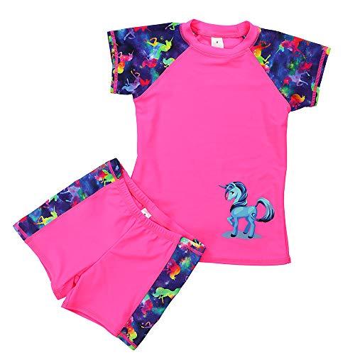DUSISHIDAN Rashguard Kinder Jungen UV Schutz Unisex Badeanzug Zweiteiliger Kurze Ärmel und Hosen Einhorn-Stickerei Rosa