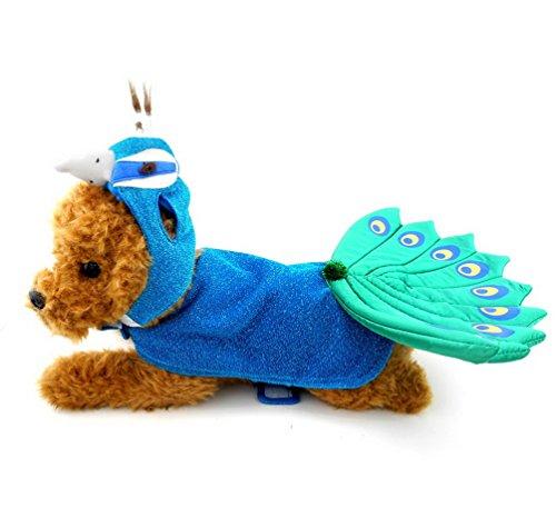 smalllee _ Lucky _ store Animal Pfau Hunde Kostüm mit Einstellbare Hat & Cape blau, für kleine Hunde unter - Food Yorkie Dog
