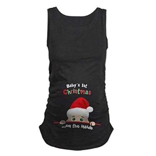 Witzige süße Schwangere Maternity Damen Umstandsmode T-Shirts mit Mutterschafts-niedliche lustige Slogan Motiv Schwangerschaft Geschenk Ärmellos
