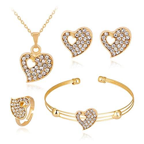 MYYQ 925 Sterling Silber Damen Kette mit Anhänger mit,Damen Double Heart Ausschnitt Schmuck Platin eingelegten Strass Halskette Ohrringe Armband Ring Set Halskette Umfang 45cm