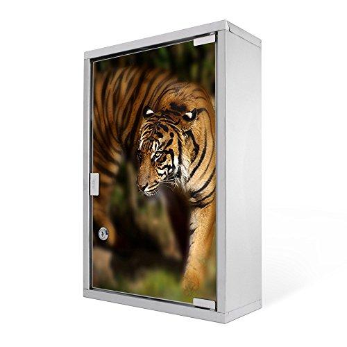 #Medizinschrank groß Edelstahl abschliessbar 30x45x12cm Arzneischrank Medikamentenschrank Hausapotheke Erste Hilfe Schrank Motiv Tiger#