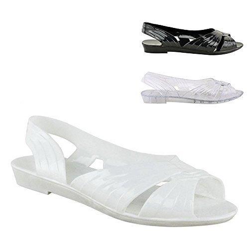 Gelatina Della Sandalo Piani Donna Aperti Dimensioni Slingback Nuove Signore Le Bianco Sandali w1FBqUzx