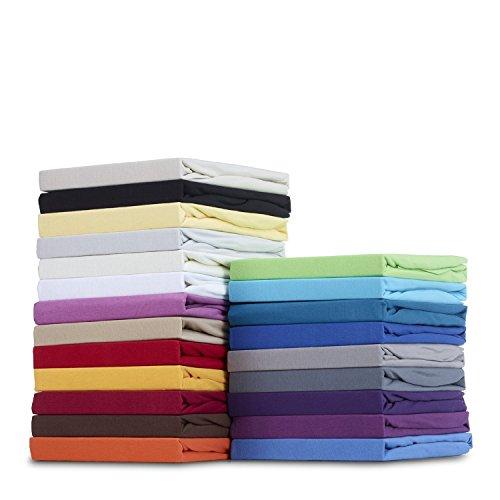 Stretch Baumwolle Jersey (GOLD STERN Baumwolle Jersey-Stretch Spannbettlaken 180-200 x 200 cm, Nougat)