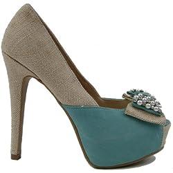 Damen Plateau High-Heels mit Perlen / Strass (38, türkis)