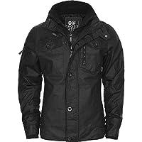 NEW MENS CROSSHATCH PLIXXIE JACKET PADDED DESIGNER BLACK RIBBED WINTER ZIP COAT[Black ,L]