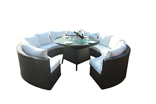 Yakoe monaco 10 seater round rattan outdoor patio garden for 10 seater dining table uk