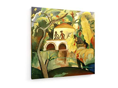 August Macke - Rokoko - 50x50 cm - Textil-Leinwandbild auf Keilrahmen - Wand-Bild - Kunst, Gemälde,...