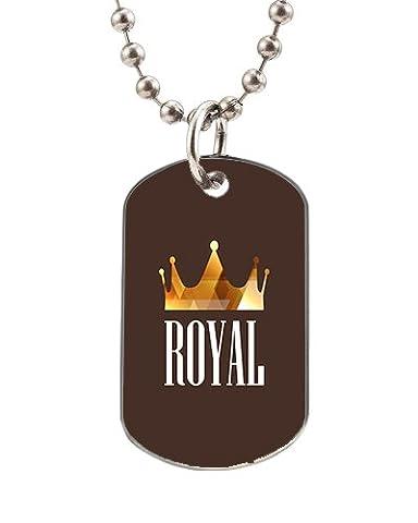 personnalisé de luxe Diamant Couronne royale sur émail noir Dog Tag Pendentif Collier