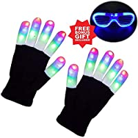 Anzmtosn Children LED Finger Light Gloves Light Up Flashing Skeleton Gloves for Boys Toys & Kids Gifts Light Show Party Supplies Accessories Favors Great Gifts-Extra Bonus Free Led Glasses More Fun