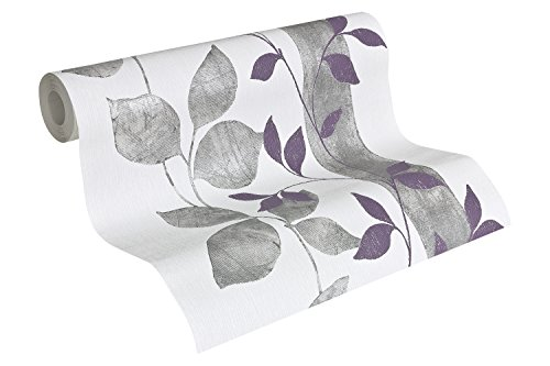 tapete Paloma Tapete floral 10,05 m x 0,53 m grau lila Made in Germany 300924 30092-4 ()