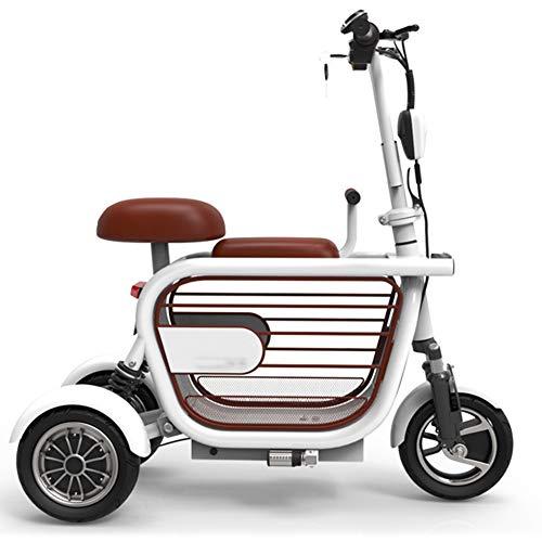 Mini Triciclo Elettrico Pieghevole, Bici Elettrica per Adulti Portatile 3 Ruote Bicicletta Potente Scooter per Il Tempo Libero, 80 Km Unisex,A