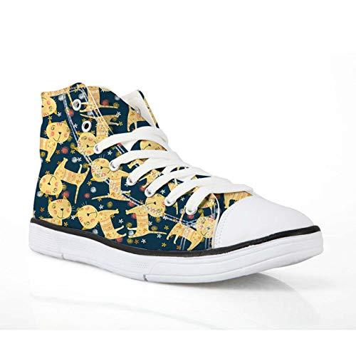 Cat Print Canvas Shoes Hi Tops Trainers Girls College Casual Flat Plimsolls Pump Yellow cat UK 7