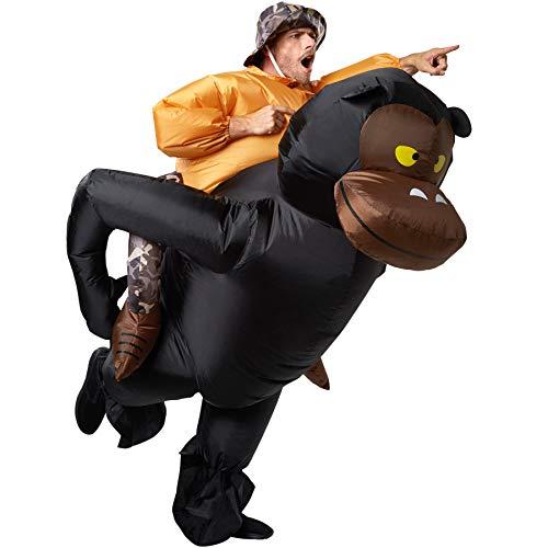dressforfun 302352 - Disfraz Unisex Inflable Gran Cazador Sentado en la Espalda de un Gorila