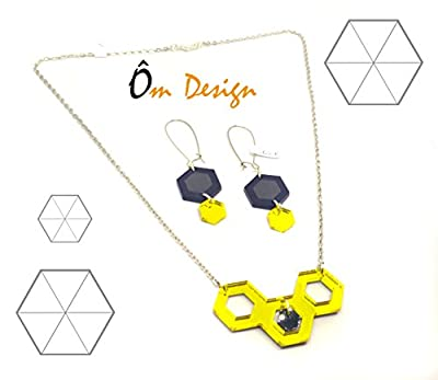 Parure géom -plexiglas noir et jaune-