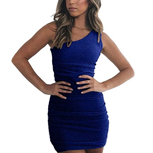 iHENGH Damen Sommer Rock Lässig Mode Kleider Bequem Frauen Röcke Plus Size Solide Sexy Skew Neck Sleeveless Dress Summer(Blau, S)