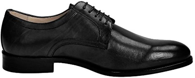 LEONARDO SHOES Hombre 05798FORMA40FULLNERO Negro Cuero Zapatos De Cordones -