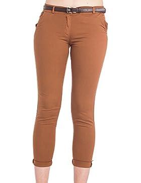 Abbino 2956 Pantalones para Mujer - Hecho en ITALIA - 3 Colores - Verano Primavera Algodón Largos Deporte Casual...