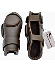 2 Strap Polo & Riding Knee Guards Leather Padded- Real Leather Knee Protection