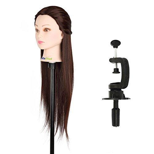 CoastaCloud Tête À Coiffer Coiffure Femme Mannequin Tête d'exercice 50% Vrais Cheveux pour le Salon Coiffeur
