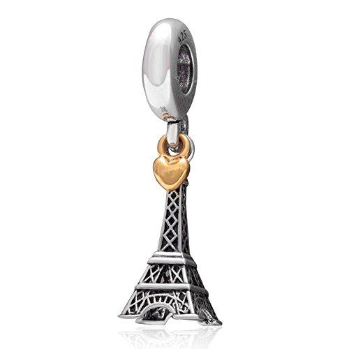 Soulbead la torre eiffel di parigi in argento sterling 925 con pendente a forma di cuore, colore: oro europeo