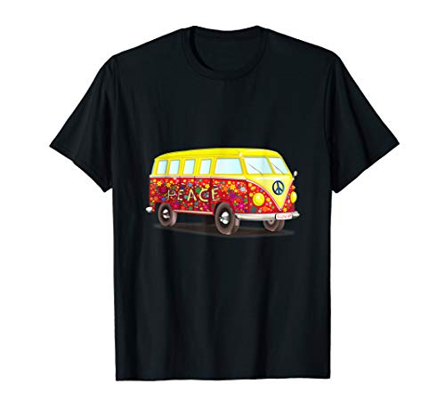 & Kind Liebe Kostüm Hippie Frieden - Van Peace Love Flower Power Retro Camper Bus Hippie Kostüme T-Shirt