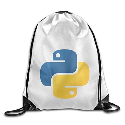 HLKPE Python Programming Perfect Drawstring Backpack Bag for Men and Women for School Gym Sport Running White