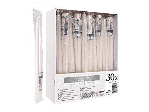 Girm® - hx922486 candela liscia metallica bianco perla cm 24. 1 pezzo - candele da tavola per feste. candele colorate per natale . cero colorato