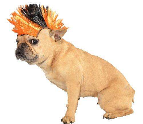 Mohawk Wig Pet - orange/schwarz (Mohawk Kostüme)