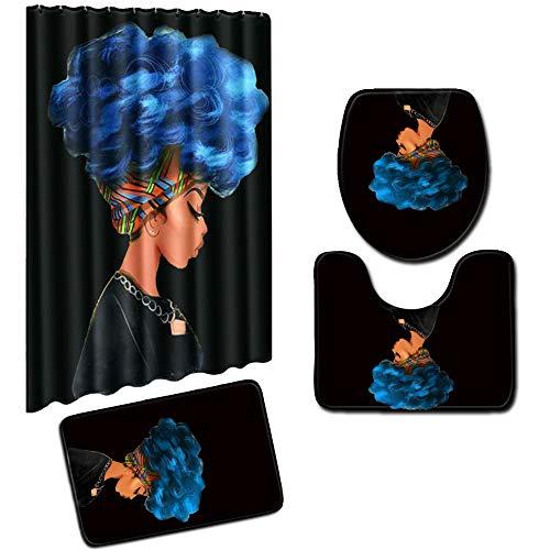 BAIVIN Gedruckt Duschvorhang 4 Stück Set Kreative Afrikanische Frau 180 cm Bad Teppich Bad Decke Wasserdicht Rutschfeste,E,L