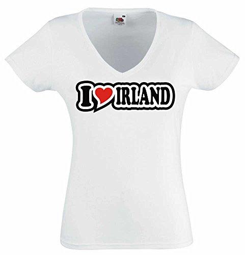 T-Shirt I Love Heart Damen V-Ausschnitt I LOVE IRLAND Weiß