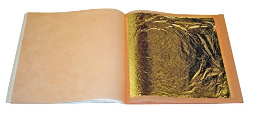 100 hojas de oro, 20 x 20 mm, 24 quilates, 100% autentico