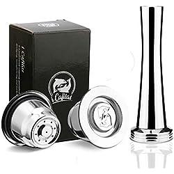 i Cafilas Capsules Nespresso Réutilisables Inox, 2PCS Dosettes Rechargeables pour machines Nespresso Originales + 1 Tamper + 1 Cuillère + 1 Brosse