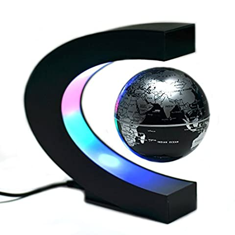 7-Deer Magnetic Levitation Globe Table Lamp Floating with Led Lights C-shaped World Map Home Office Decoration (18*17*8.5, Black)