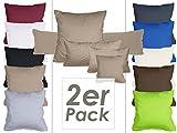 Doppelpack Kissenbezüge aus sanforisiertem Baumwoll-Jersey zum Sparpreis - in dezentem Design - 10 dekorativen Farben und 4 Größen, 80 x 80 cm, sand
