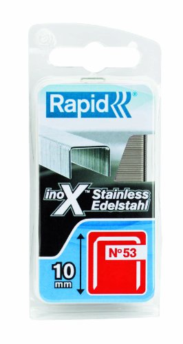 Rapid, 40109511, Agrafes en fil fin N°53, Longueur 10mm, 1080 pièces, Pour le textile et la décoration, Acier Inoxydable, Haute performance