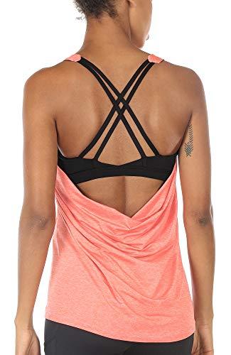 icyzone Camiseta de Fitness Deportiva de Tirantes para Mujer Cruzado-C