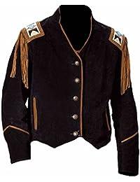 Classyak pour Homme Cowboy à Franges et Perles en Cuir de Daim Manteau 37ccb3cfde3f