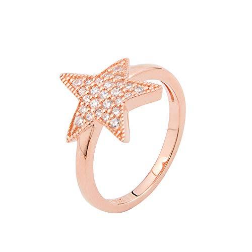 te,925 Silberne Einfache Frische Sternanhängerart Und Weise Weibliche Halskettenohrringohrringe Stellten @ Rose Goldring EIN ()