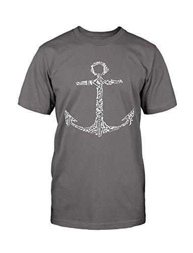 Anchor Bone T-Shirt Neu Fun Funny Sailor Marine Rockabilly Old School Vintage Grau