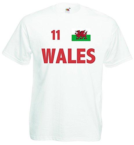 world-of-shirt Herren T-Shirt Wales EM 2016 Trikot Nr 11 S-XXXL Weiss
