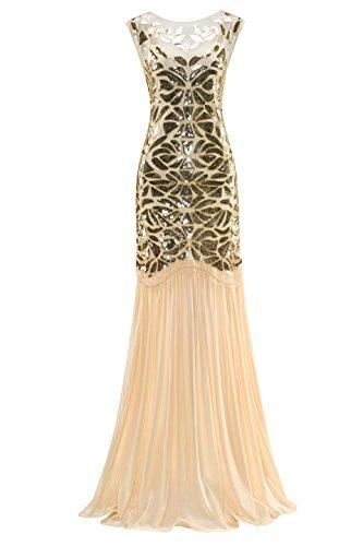 Metme Frauen der 1920er Jahre Perlen Pailletten Vintage Classic lange Flapper Gatsby Prom (Damen Plus Kostüme Size Renaissance)
