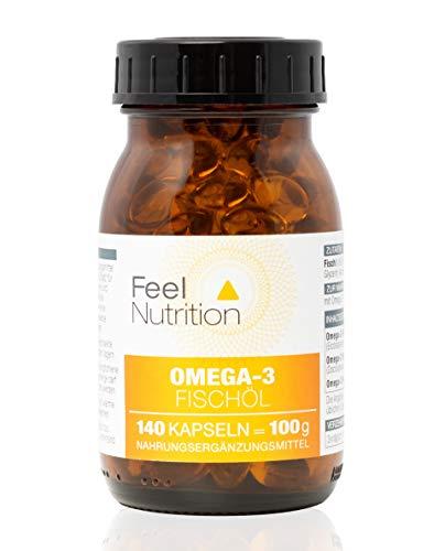 Omega 3 Fischöl Kapseln - IM GLAS, OHNE WEICHMACHER - Pro 3 Kapseln 225 mg EPA und 150 mg DHA - Omega 3 Kapseln OHNE Carrageen - 140 Kapseln - Deutsche Premiumqualität -