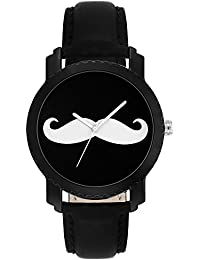 Jainx Moustache Black Dial Analog Watch For Men & Boys - JM273