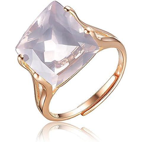 Elegante S925plata de ley laminados y # xFEFF; Anillo incrustaciones natural Asscher anillo de cristal